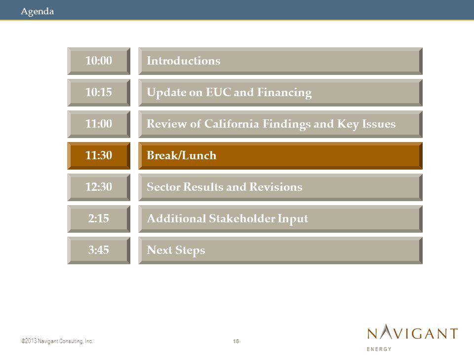 16 ©2013 Navigant Consulting, Inc. ENERGY 10:00Introductions 10:15Update on EUC and Financing 11:00Review of California Findings and Key Issues 11:30B