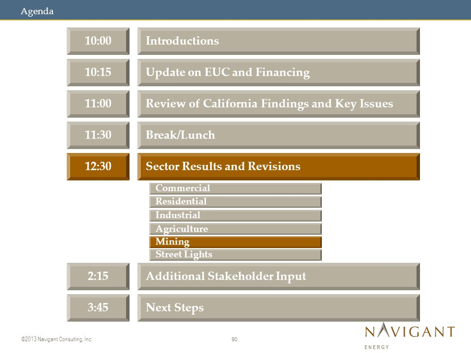 90 ©2013 Navigant Consulting, Inc. ENERGY 10:00Introductions 10:15Update on EUC and Financing 11:00Review of California Findings and Key Issues 11:30B