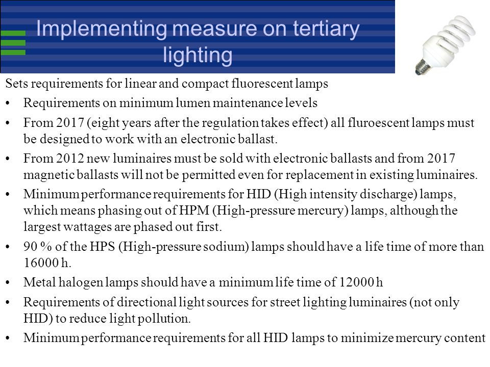 Non-Directional Household Lamps Implementing Measure (244/2009) Application Date Banned Products September 2009 Non-clear incandescent lamps + clear 1