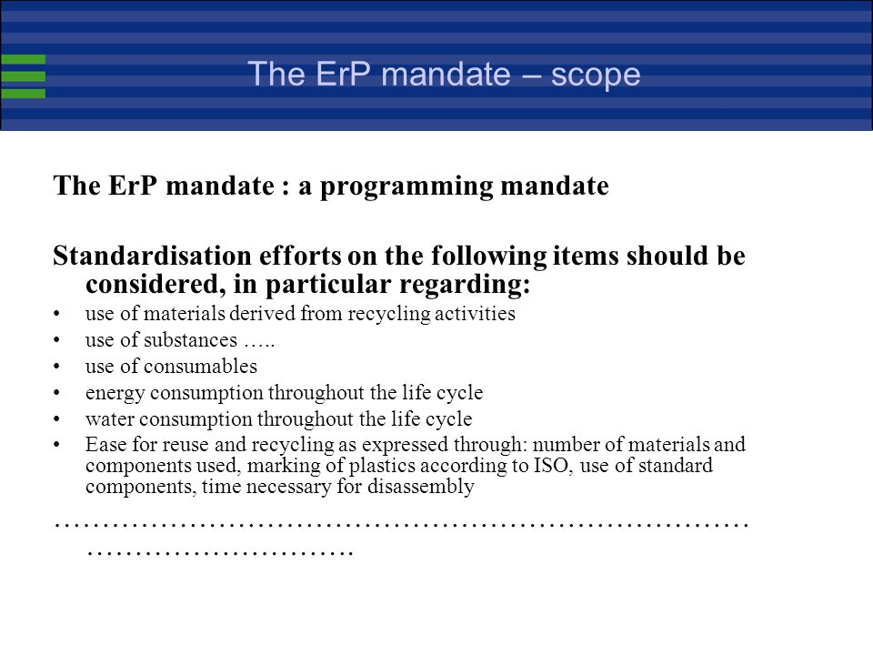 Harmonised standards in support of the ErP framework (continued) Harmonised standards provide presumption of conformity with the provisions of the app