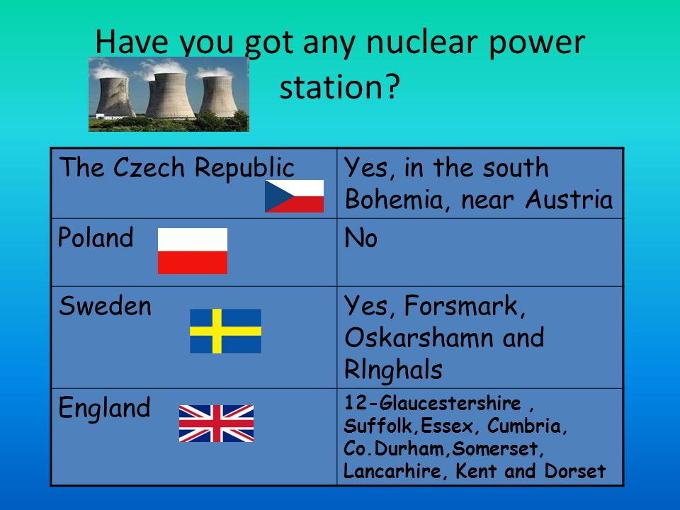 Have you got any nuclear power station.