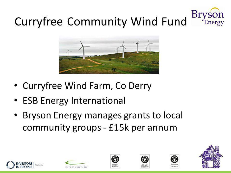 Curryfree Community Wind Fund Curryfree Wind Farm, Co Derry ESB Energy International Bryson Energy manages grants to local community groups - £15k per