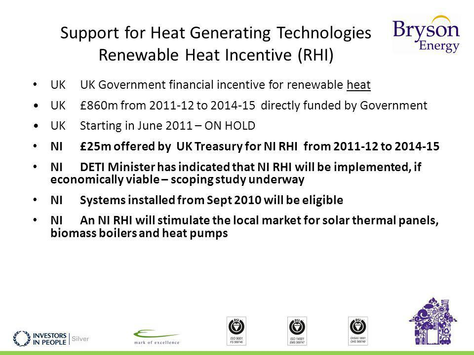 Support for Heat Generating Technologies Renewable Heat Incentive (RHI) UKUK Government financial incentive for renewable heat UK £860m from 2011-12 to 2014-15 directly funded by Government UKStarting in June 2011 – ON HOLD NI£25m offered by UK Treasury for NI RHI from 2011-12 to 2014-15 NI DETI Minister has indicated that NI RHI will be implemented, if economically viable – scoping study underway NISystems installed from Sept 2010 will be eligible NI An NI RHI will stimulate the local market for solar thermal panels, biomass boilers and heat pumps