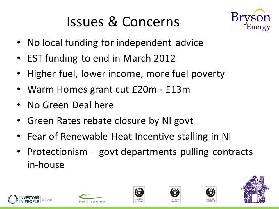 Issues & Concerns No local funding for independent advice EST funding to end in March 2012 Higher fuel, lower income, more fuel poverty Warm Homes grant cut £20m - £13m No Green Deal here Green Rates rebate closure by NI govt Fear of Renewable Heat Incentive stalling in NI Protectionism – govt departments pulling contracts in-house