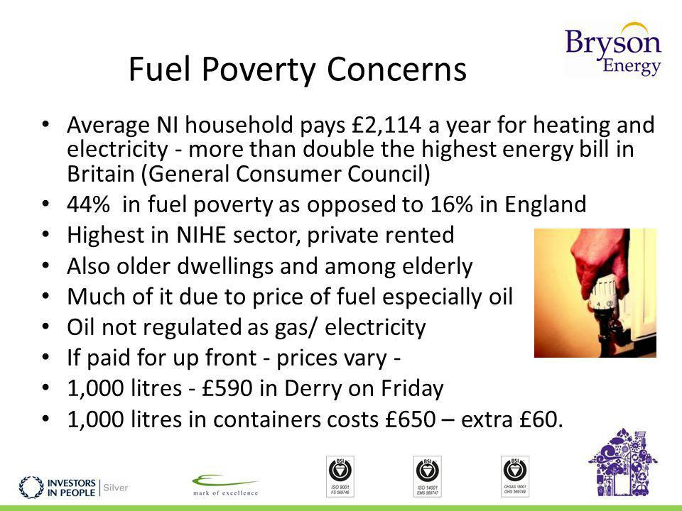 Fuel Poverty Concerns Average NI household pays £2,114 a year for heating and electricity - more than double the highest energy bill in Britain (General Consumer Council) 44% in fuel poverty as opposed to 16% in England Highest in NIHE sector, private rented Also older dwellings and among elderly Much of it due to price of fuel especially oil Oil not regulated as gas/ electricity If paid for up front - prices vary - 1,000 litres - £590 in Derry on Friday 1,000 litres in containers costs £650 – extra £60.