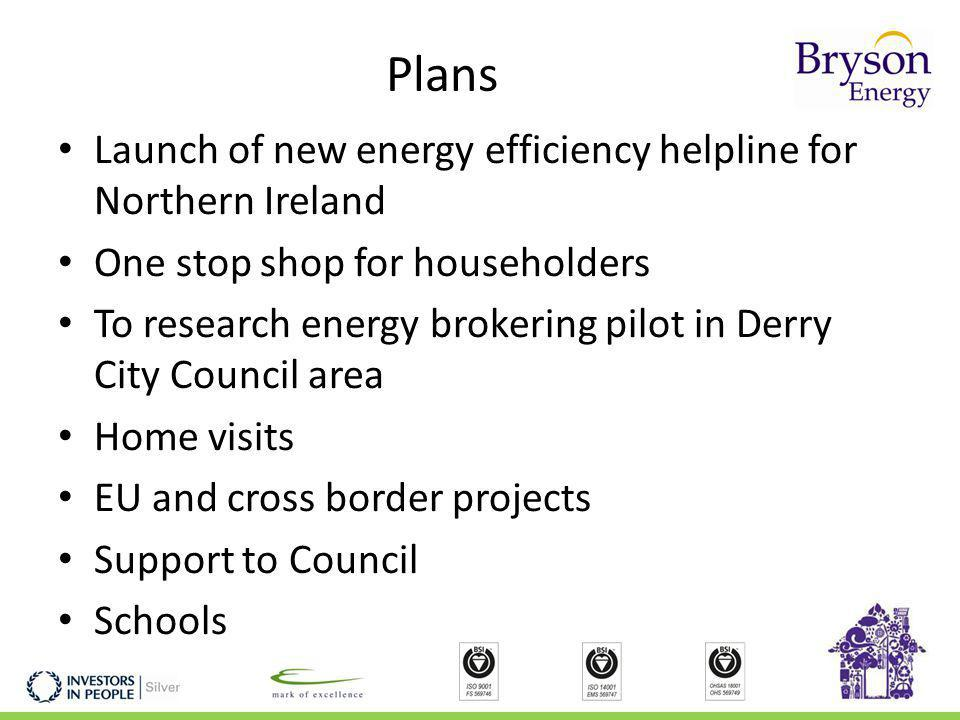 Plans Launch of new energy efficiency helpline for Northern Ireland One stop shop for householders To research energy brokering pilot in Derry City Council area Home visits EU and cross border projects Support to Council Schools