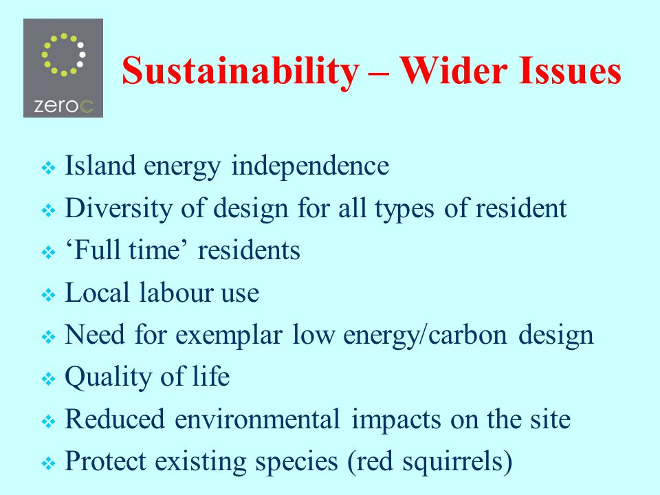 Sustainability – Wider Issues Island energy independence Diversity of design for all types of resident Full time residents Local labour use Need for exemplar low energy/carbon design Quality of life Reduced environmental impacts on the site Protect existing species (red squirrels)