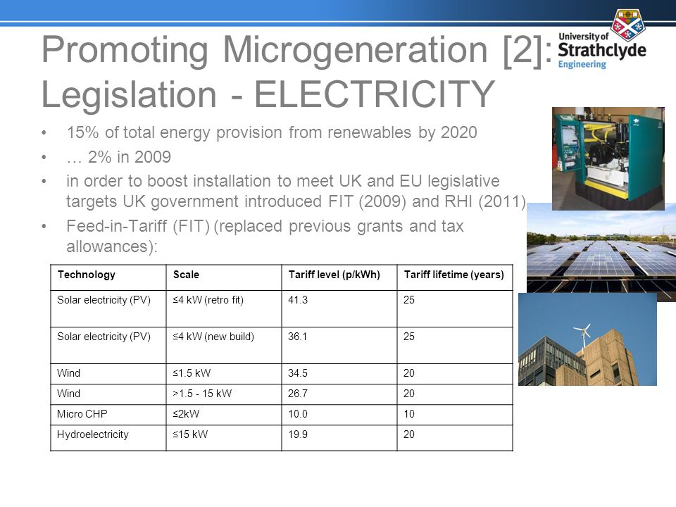 Promoting Microgeneration [2]: Legislation - ELECTRICITY 15% of total energy provision from renewables by 2020 … 2% in 2009 in order to boost installa