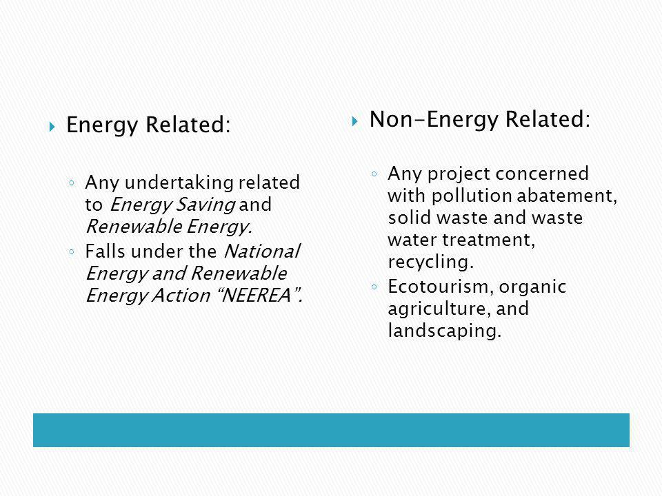 Energy Related: Any undertaking related to Energy Saving and Renewable Energy.