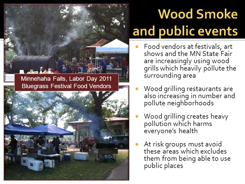 Food vendors at festivals, art shows and the MN State Fair are increasingly using wood grills which heavily pollute the surrounding area Wood grilling