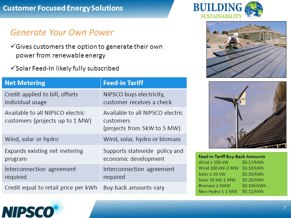 7 Net MeteringFeed-in Tariff Credit applied to bill, offsets individual usage NIPSCO buys electricity, customer receives a check Available to all NIPSCO electric customers (projects up to 1 MW) Available to all NIPSCO electric customers (projects from 5kW to 5 MW) Wind, solar or hydroWind, solar, hydro or biomass Expands existing net metering program Supports statewide policy and economic development Interconnection agreement required Credit equal to retail price per kWhBuy-back amounts vary Generate Your Own Power Gives customers the option to generate their own power from renewable energy Solar Feed-In likely fully subscribed Feed-in Tariff Buy-Back Amounts Wind 100 kW $0.17/kWh Wind 100 kW-2 MW$0.10/kWh Solar 10 kW$0.30/kWh Solar 10 kW-2 MW$0.26/kWh Biomass 5MW$0.106/kWh New Hydro 1 MW$0.12/kWh Customer Focused Energy Solutions