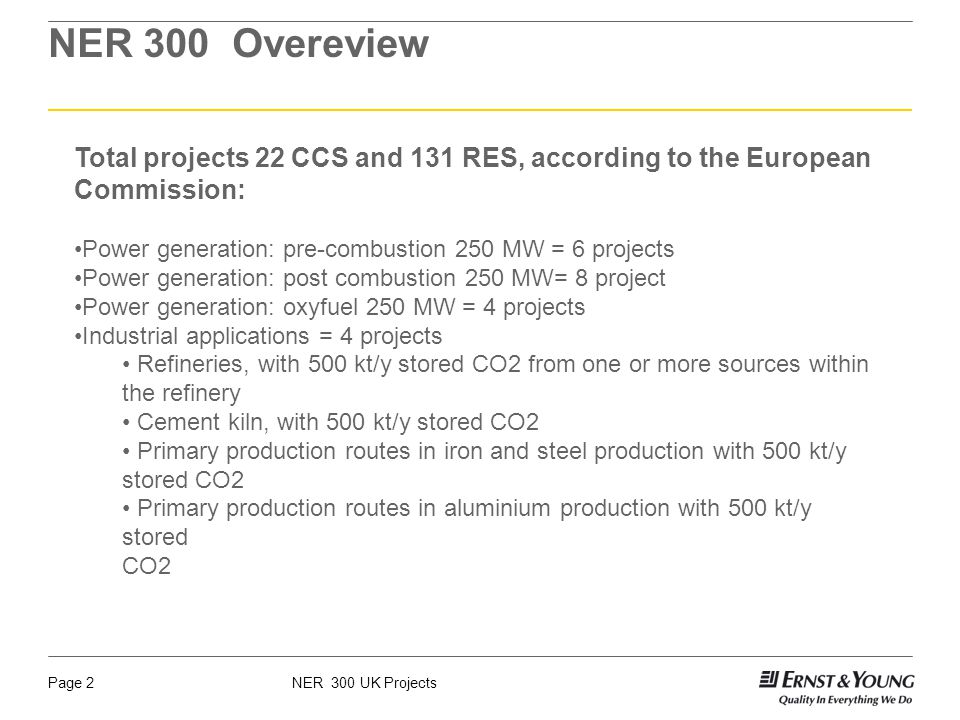 NER 300 UK ProjectsPage 3 Projects Per Country 9 in the UK (5 pre-combustion projects, 3 post-combustion projects, 1 oxyfuel project) 4 in the Netherlands (1 oxyfuel, 1 pre-combustion, 1 postcombustion, 1 industrial) 1 in Spain (oxyfuel) 1 in Italy (post-combustion) 1 in France (industrial) 1 in Poland (post-combustion) 1 in Germany (oxyfuel) 1 in Romania (post-combustion)