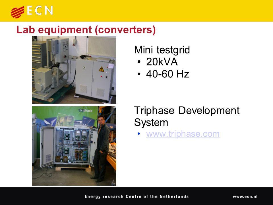 Lab equipment (converters) Mini testgrid 20kVA 40-60 Hz Triphase Development System www.triphase.com