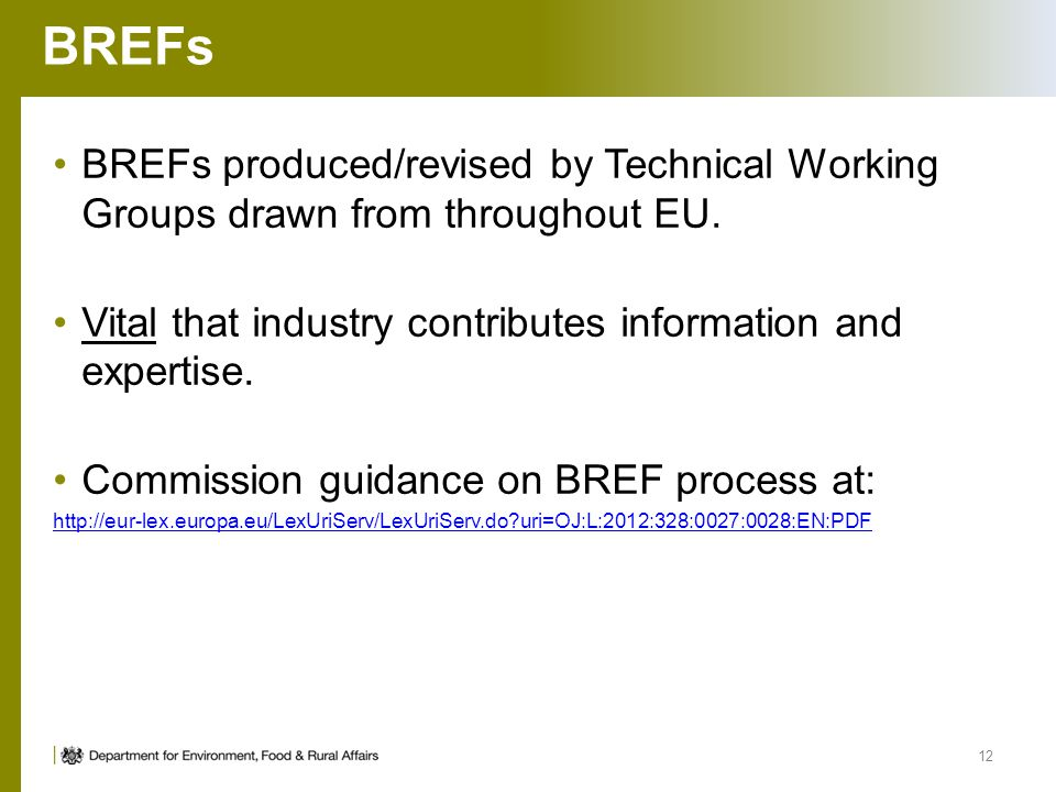 BREFs BREFs produced/revised by Technical Working Groups drawn from throughout EU. Vital that industry contributes information and expertise. Commissi