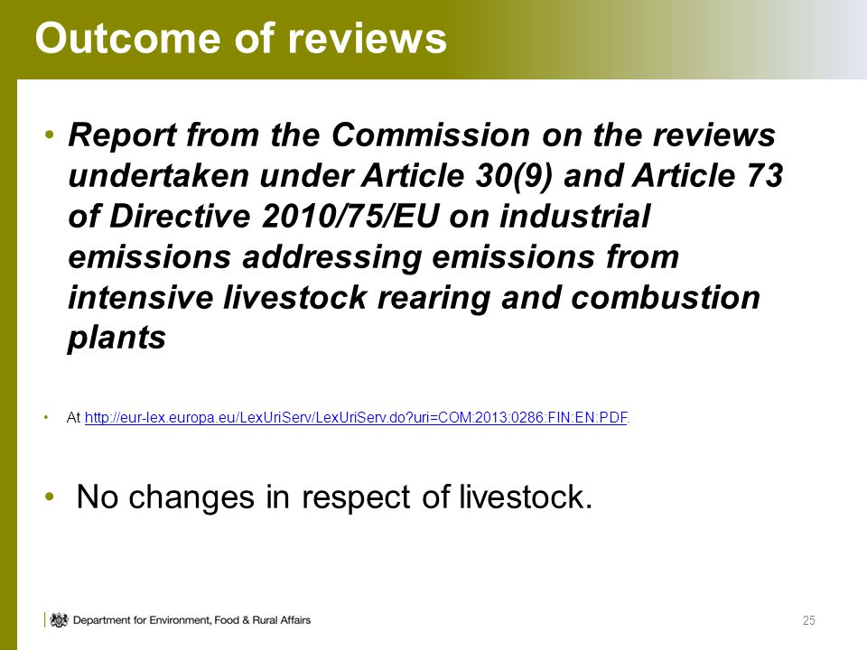Outcome of reviews Report from the Commission on the reviews undertaken under Article 30(9) and Article 73 of Directive 2010/75/EU on industrial emiss