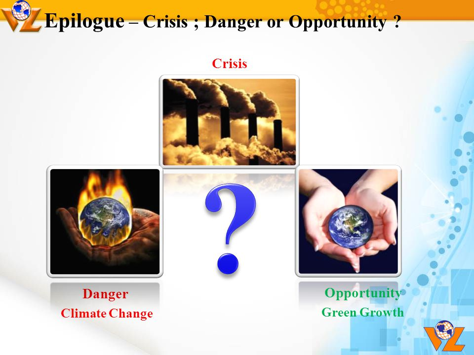 Epilogue – Crisis ; Danger or Opportunity ? Crisis Danger Climate Change Opportunity Green Growth 83