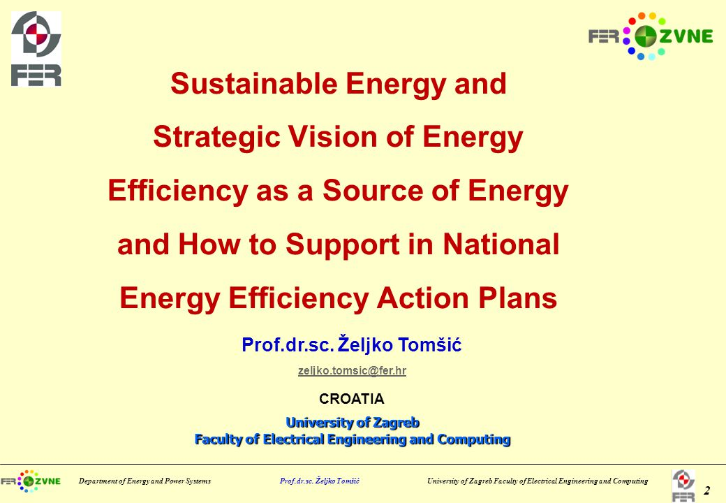 Department of Energy and Power Systems Prof.dr.sc.