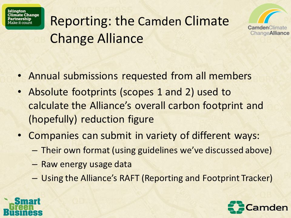 Example Corporate Carbon Footprint from DEFRA Recommendation: You should report total GHG emissions as a gross figure in tonnes of CO2e You may report net emissions after offsets and green tarriff You may use an appropriate intensity ratio to compare performance over time