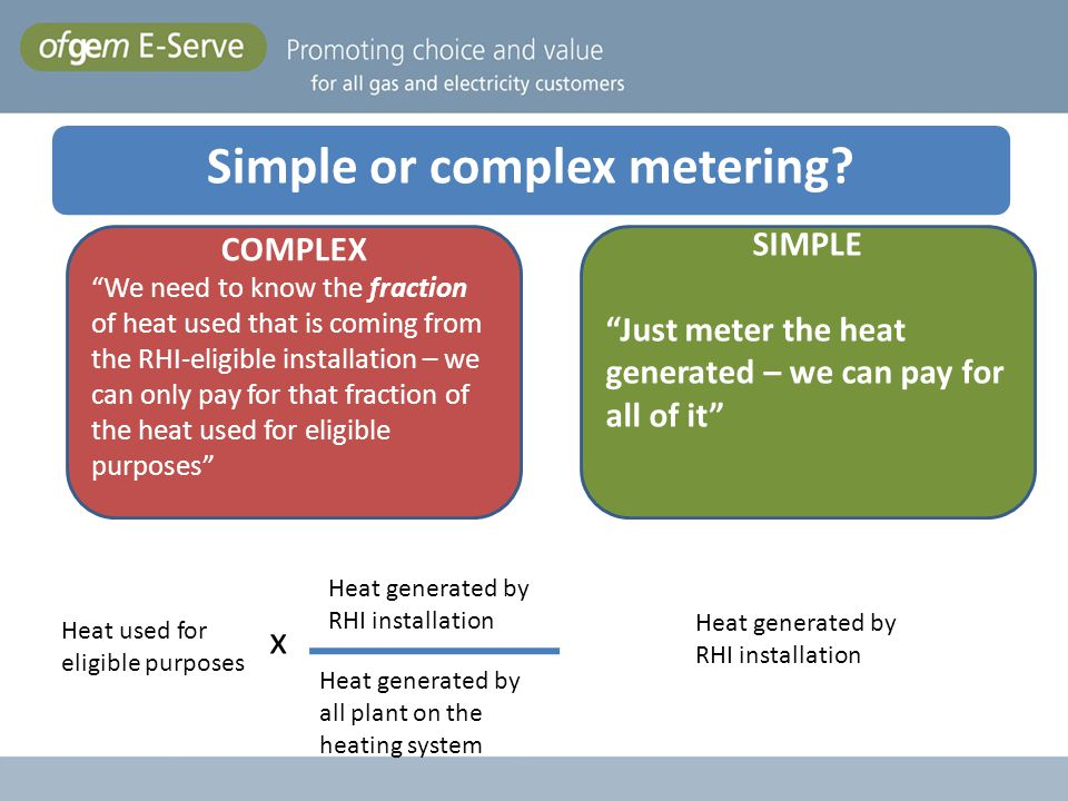 COMPLEX We need to know the fraction of heat used that is coming from the RHI-eligible installation – we can only pay for that fraction of the heat us