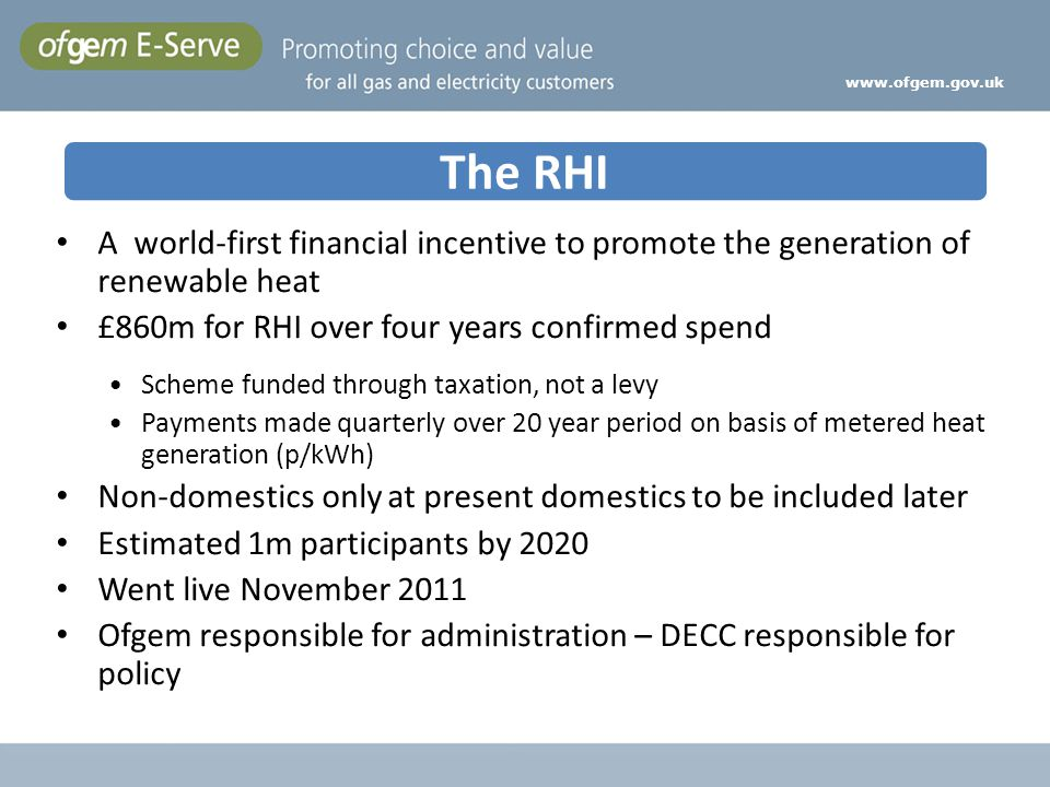 www.ofgem.gov.uk A world-first financial incentive to promote the generation of renewable heat £860m for RHI over four years confirmed spend Scheme fu