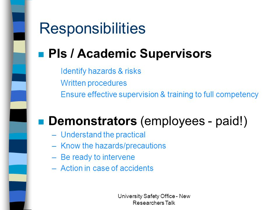 University Organisation University Safety Office - New Researchers Talk