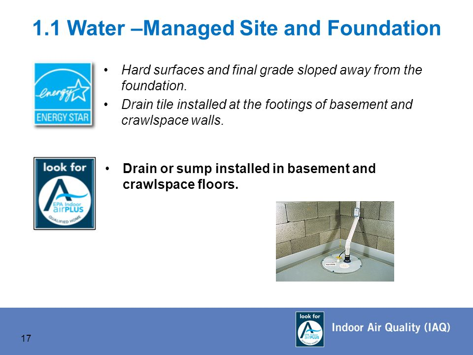 1.1 Water –Managed Site and Foundation Hard surfaces and final grade sloped away from the foundation.