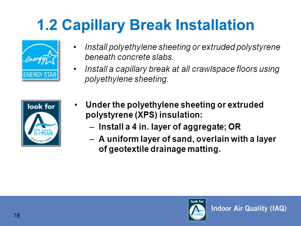 1.2 Capillary Break Installation Install polyethylene sheeting or extruded polystyrene beneath concrete slabs.
