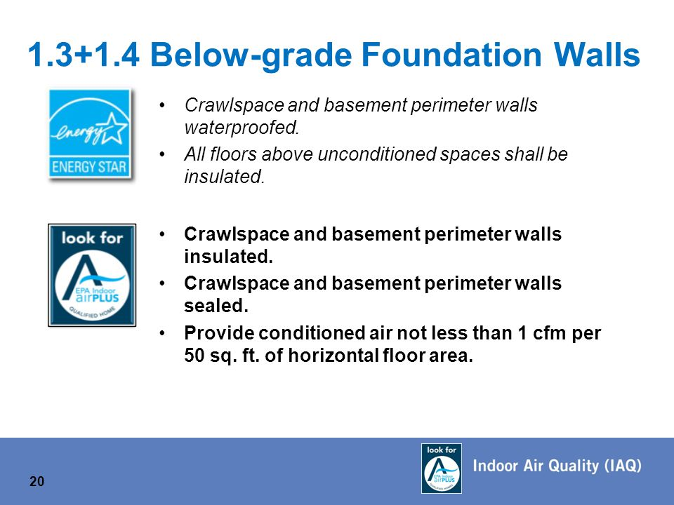 1.3+1.4 Below-grade Foundation Walls Crawlspace and basement perimeter walls waterproofed.