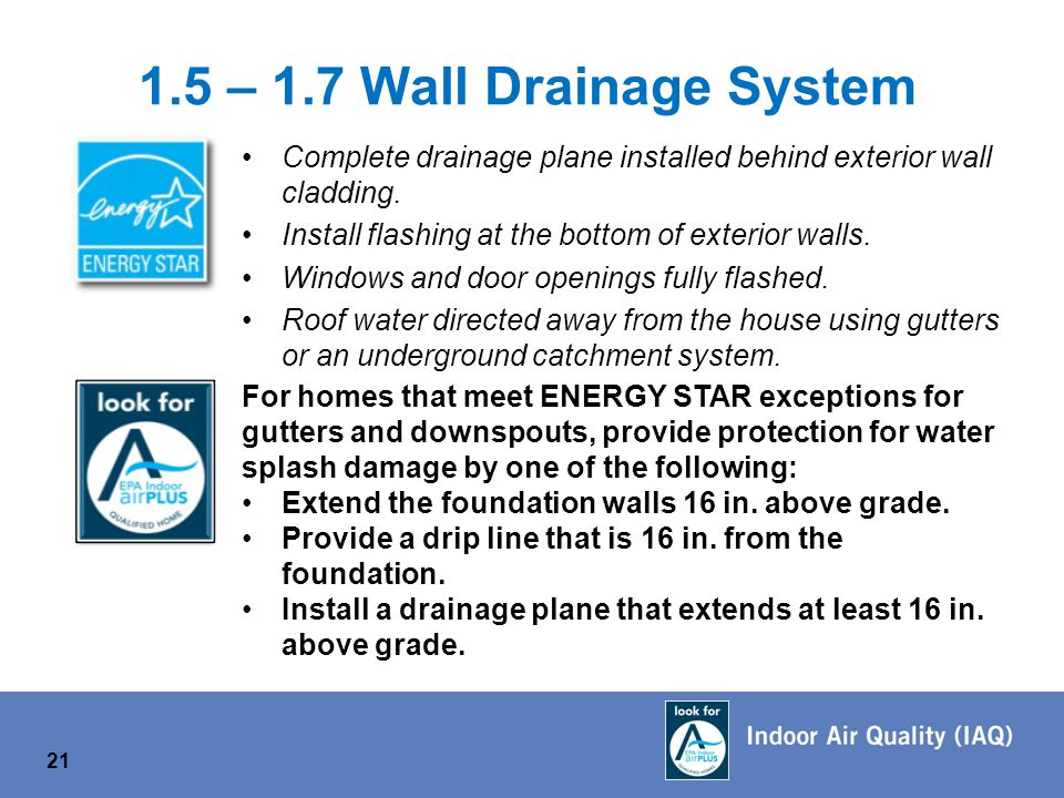 1.5 – 1.7 Wall Drainage System Complete drainage plane installed behind exterior wall cladding.