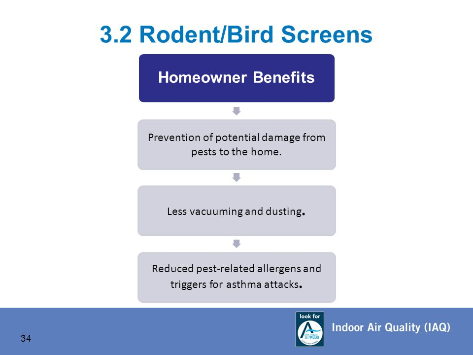 34 3.2 Rodent/Bird Screens Homeowner Benefits Prevention of potential damage from pests to the home.