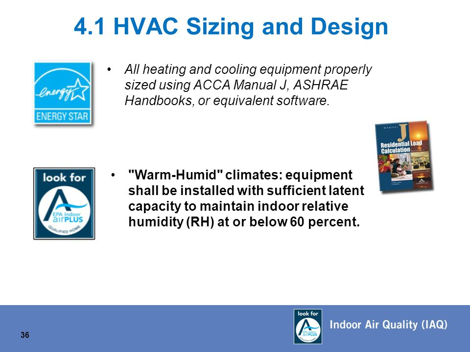 4.1 HVAC Sizing and Design All heating and cooling equipment properly sized using ACCA Manual J, ASHRAE Handbooks, or equivalent software.