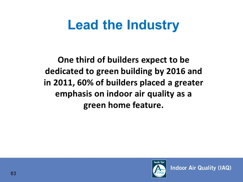 63 Lead the Industry One third of builders expect to be dedicated to green building by 2016 and in 2011, 60% of builders placed a greater emphasis on indoor air quality as a green home feature.