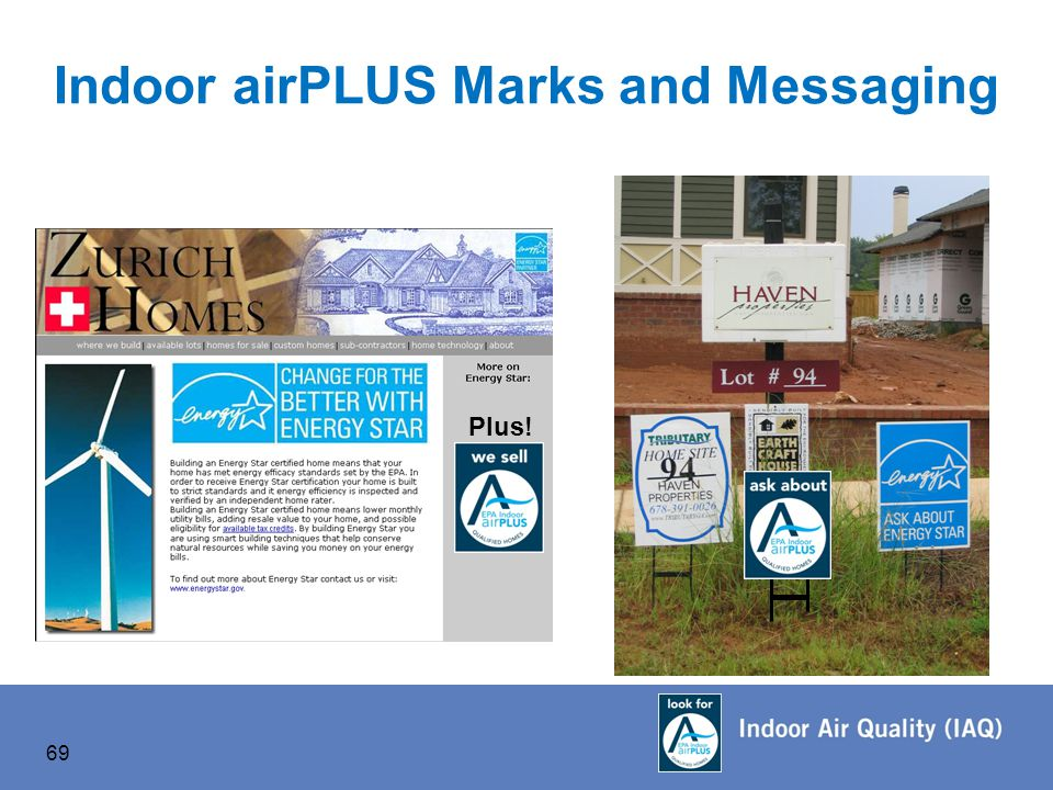 Plus! Indoor airPLUS Marks and Messaging 69