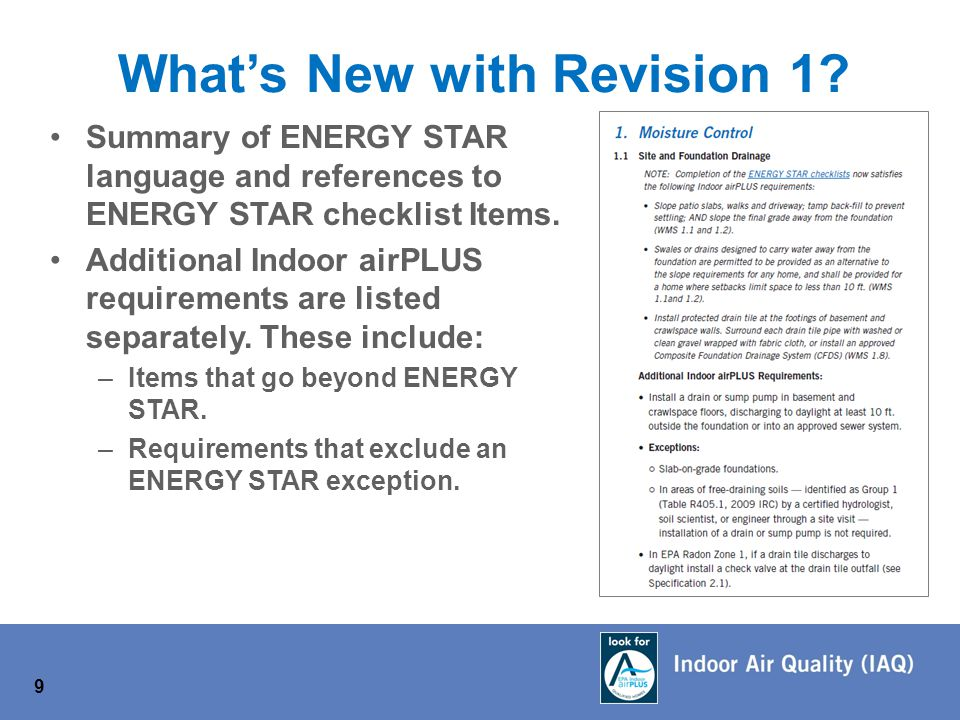 9 Summary of ENERGY STAR language and references to ENERGY STAR checklist Items.