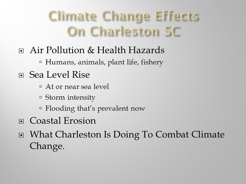 Air Pollution & Health Hazards Humans, animals, plant life, fishery Sea Level Rise At or near sea level Storm intensity Flooding thats prevalent now Coastal Erosion What Charleston Is Doing To Combat Climate Change.