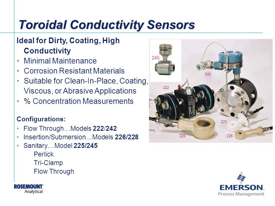 [File Name or Event] Emerson Confidential 27-Jun-01, Slide 10 Toroidal Conductivity Sensors Configurations: Flow Through…Models 222/242 Insertion/Submersion…Models 226/228 Sanitary…Model 225/245 Perlick Tri-Clamp Flow Through 225 226228 242 222 Ideal for Dirty, Coating, High Conductivity Minimal Maintenance Corrosion Resistant Materials Suitable for Clean-In-Place, Coating, Viscous, or Abrasive Applications % Concentration Measurements 245