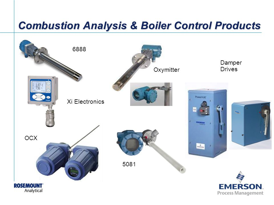 [File Name or Event] Emerson Confidential 27-Jun-01, Slide 22 Combustion Analysis & Boiler Control Products Damper Drives 5081 OCX Oxymitter 6888 Xi Electronics