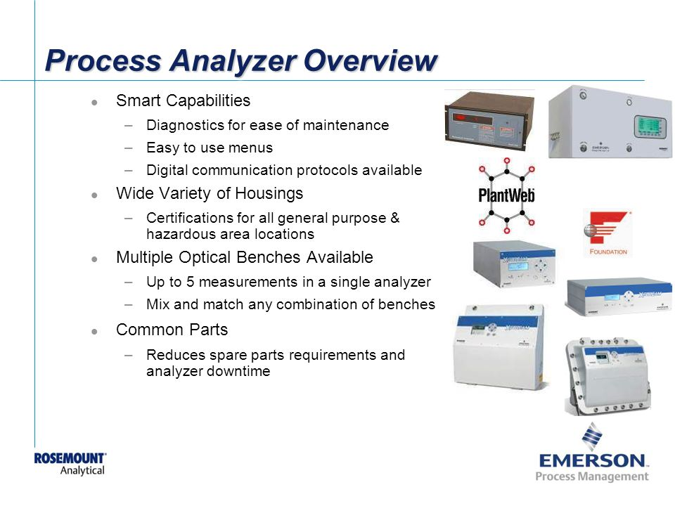 [File Name or Event] Emerson Confidential 27-Jun-01, Slide 27 Process Analyzer Overview Smart Capabilities –Diagnostics for ease of maintenance –Easy to use menus –Digital communication protocols available Wide Variety of Housings –Certifications for all general purpose & hazardous area locations Multiple Optical Benches Available –Up to 5 measurements in a single analyzer –Mix and match any combination of benches Common Parts –Reduces spare parts requirements and analyzer downtime