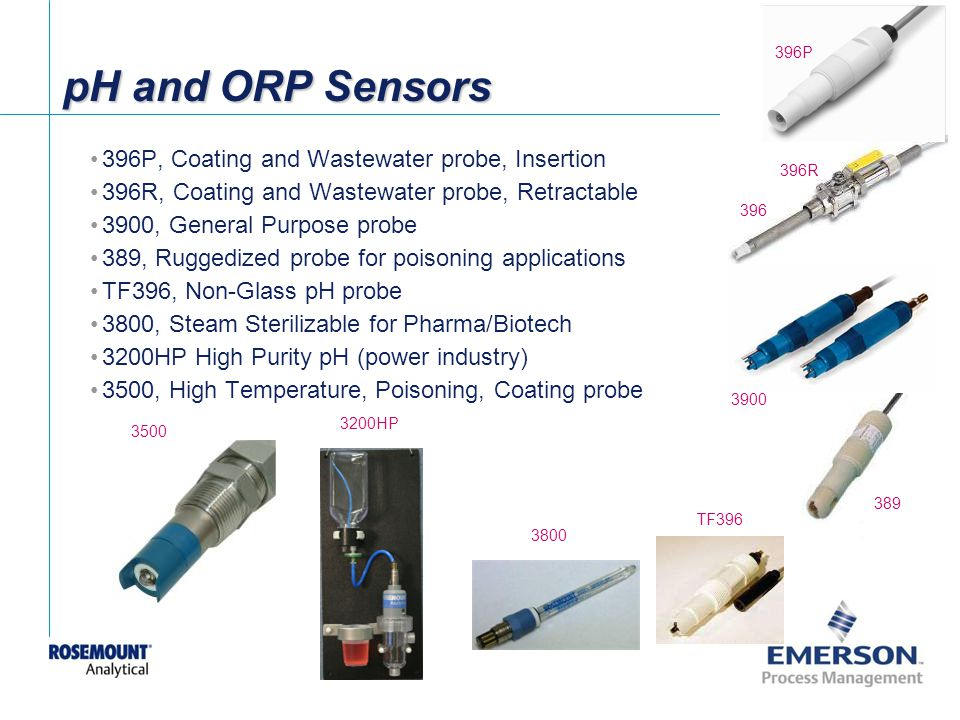 [File Name or Event] Emerson Confidential 27-Jun-01, Slide 8 pH and ORP Sensors 389 3900 396P 396R 396 TF396 396P, Coating and Wastewater probe, Insertion 396R, Coating and Wastewater probe, Retractable 3900, General Purpose probe 389, Ruggedized probe for poisoning applications TF396, Non-Glass pH probe 3800, Steam Sterilizable for Pharma/Biotech 3200HP High Purity pH (power industry) 3500, High Temperature, Poisoning, Coating probe 3800 3200HP 3500