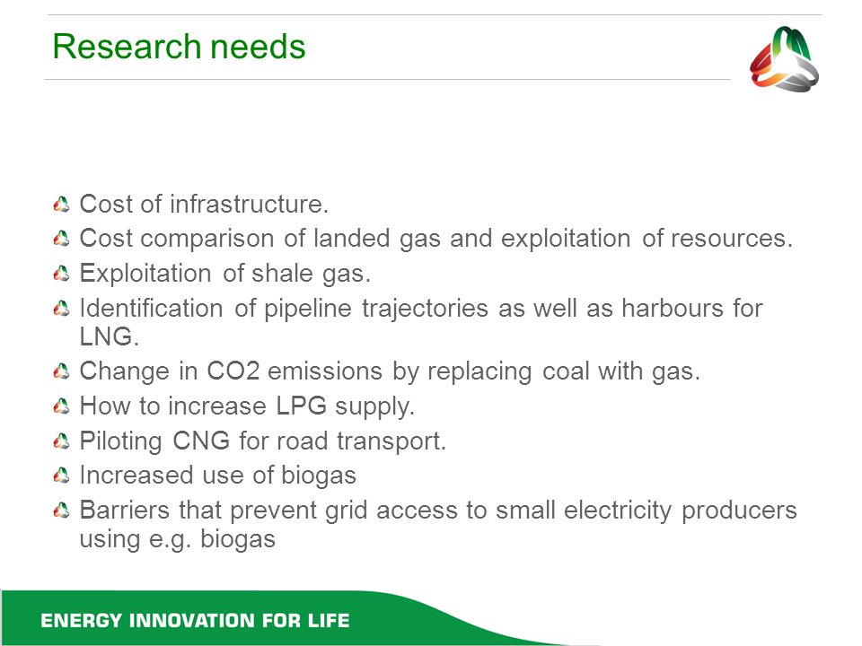 Research needs Cost of infrastructure. Cost comparison of landed gas and exploitation of resources. Exploitation of shale gas. Identification of pipel