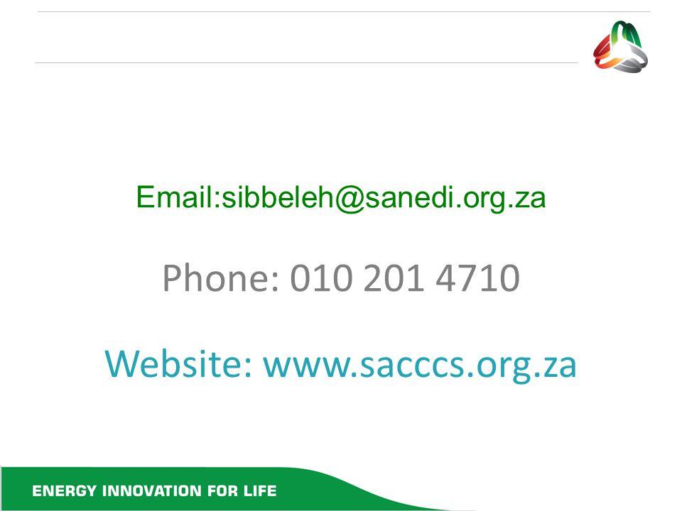 Email:sibbeleh@sanedi.org.za Phone: 010 201 4710 Website: www.sacccs.org.za