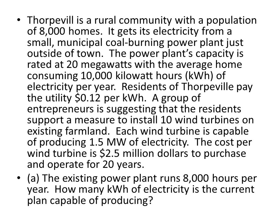 Thorpevill is a rural community with a population of 8,000 homes. It gets its electricity from a small, municipal coal-burning power plant just outsid