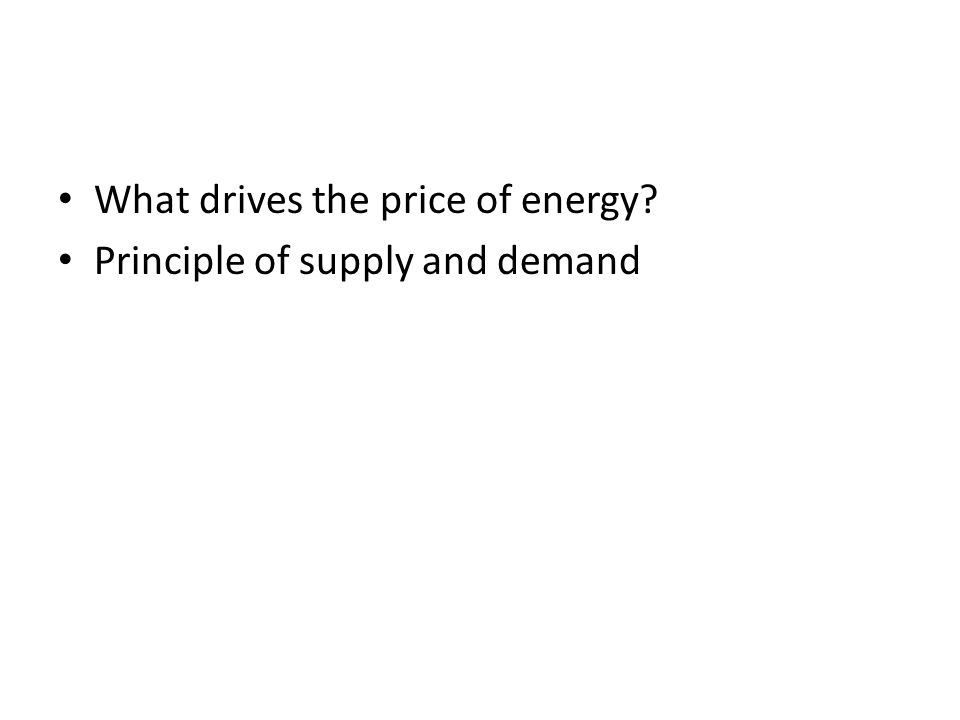 What drives the price of energy? Principle of supply and demand