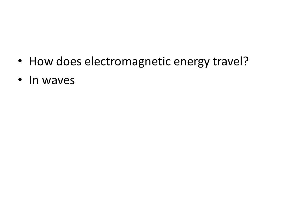 How does electromagnetic energy travel? In waves