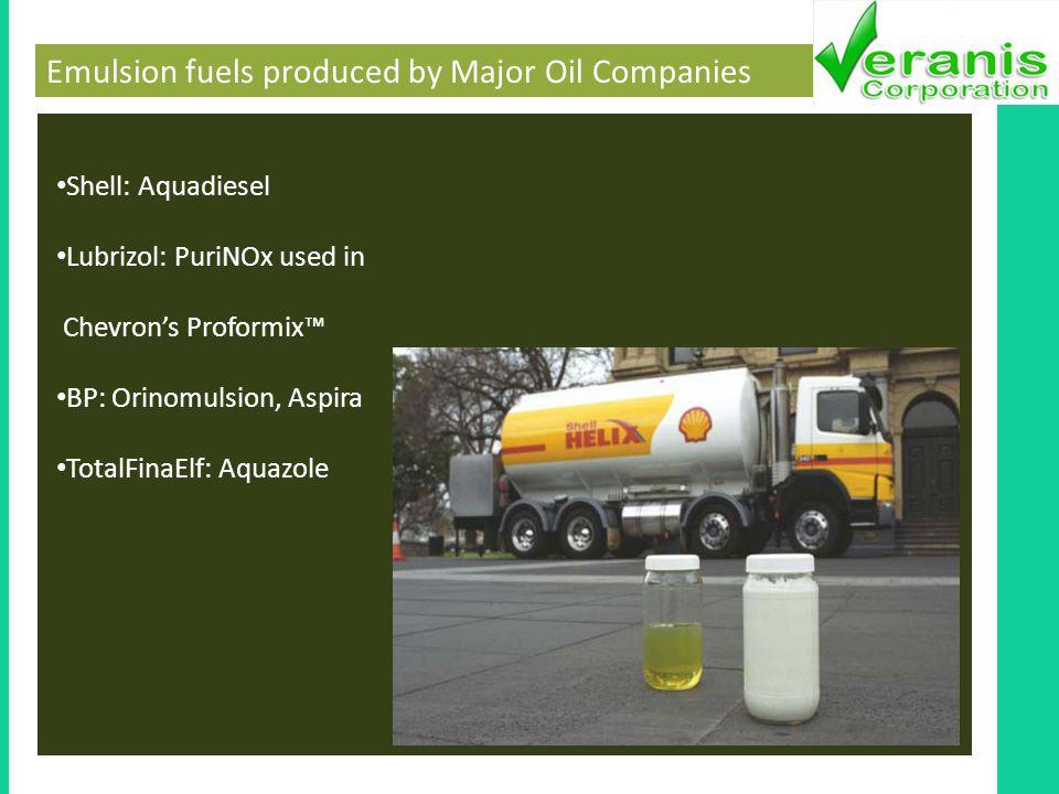 Emulsion fuels produced by Major Oil Companies Shell: Aquadiesel Lubrizol: PuriNOx used in Chevrons Proformix BP: Orinomulsion, Aspira TotalFinaElf: Aquazole