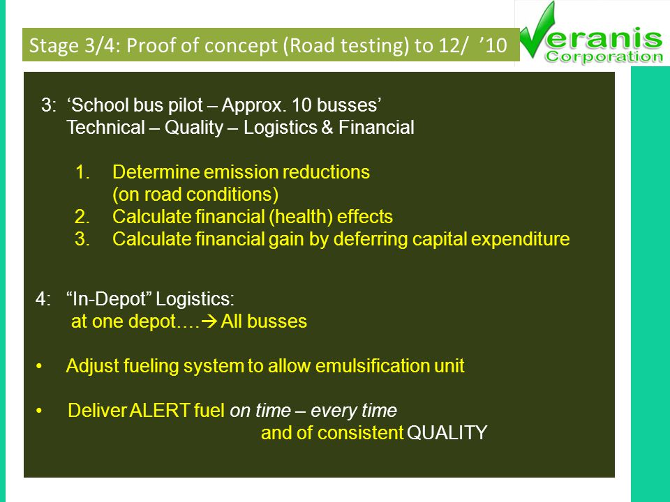 Stage 3/4: Proof of concept (Road testing) to 12/ 10 3: School bus pilot – Approx.
