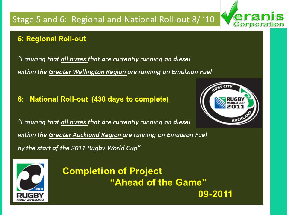 Stage 5 and 6: Regional and National Roll-out 8/ 10 5: Regional Roll-out Ensuring that all buses that are currently running on diesel within the Greater Wellington Region are running on Emulsion Fuel 6: National Roll-out (438 days to complete) Ensuring that all buses that are currently running on diesel within the Greater Auckland Region are running on Emulsion Fuel by the start of the 2011 Rugby World Cup Completion of Project Ahead of the Game 09-2011