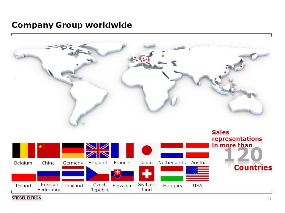 11 Company Group worldwide USA Belgium Germany EnglandFrance Netherlands Austria Poland Czech Republic Slovakia Switzer- land Hungary China Russian Federation Japan Thailand