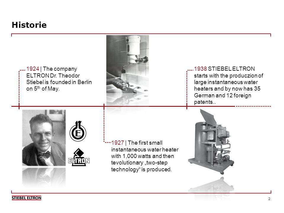 2 Historie 1924 | The company ELTRON Dr. Theodor Stiebel is founded in Berlin on 5 th of May.