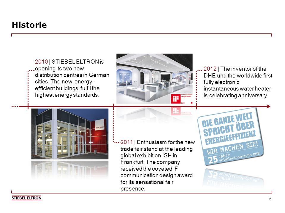 6 Historie 2010 | STIEBEL ELTRON is opening its two new distribution centres in German cities.